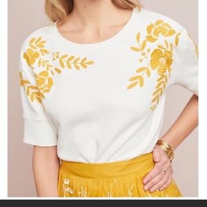 Anthropologie Vineland Embroidered Sweatshirt
